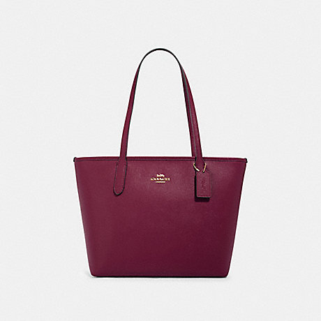 COACH 83857 ZIP TOP TOTE IM/DARK-BERRY