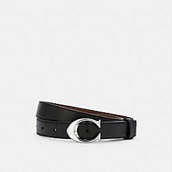 COACH 83960 Signature Buckle Belt, 25mm SV/BLACK DARK SADDLE