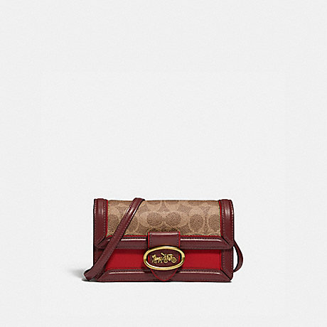 COACH 845 RILEY CONVERTIBLE BELT BAG IN SIGNATURE CANVAS BRASS/TAN RED APPLE