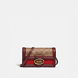 RILEY CONVERTIBLE BELT BAG IN SIGNATURE CANVAS - 845 - BRASS/TAN RED APPLE
