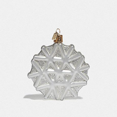 COACH 84694 SNOWFLAKE GLASS ORNAMENT CHALK