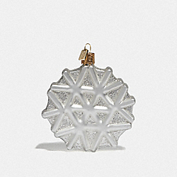 COACH 84694 Snowflake Glass Ornament CHALK