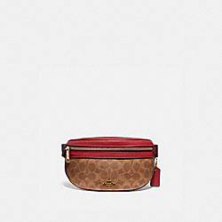BETHANY BELT BAG IN COLORBLOCK SIGNATURE CANVAS - 846 - BRASS/TAN RED APPLE MULTI