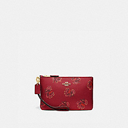 COACH 84747 - SMALL WRISTLET WITH FLORAL PRINT GD/RED APPLE FLORAL PRINT