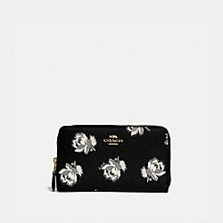 COACH 84963 Medium Zip Around Wallet With Floral Print GOLD/BLACK FLORAL PRINT