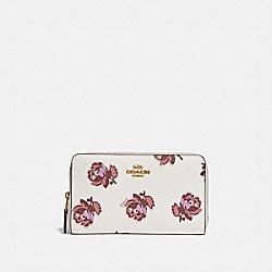 COACH 84963 Medium Zip Around Wallet With Floral Print GOLD/CHALK FLORAL PRINT
