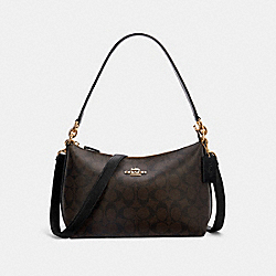 LEWIS SHOULDER BAG IN SIGNATURE CANVAS - 85696 - IM/BROWN BLACK