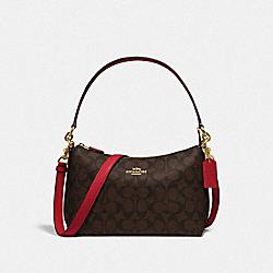 COACH 85696 - LEWIS SHOULDER BAG IN SIGNATURE CANVAS IM/BROWN TRUE RED