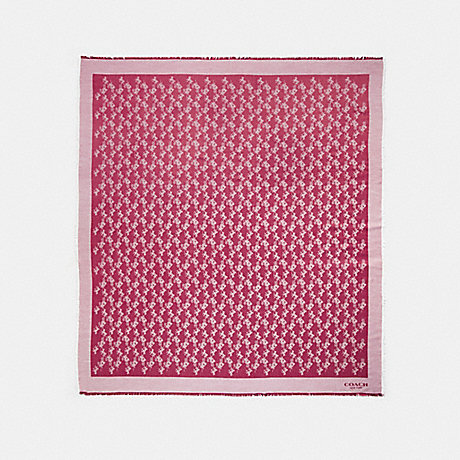 COACH 85977 HORSE AND CARRIAGE OVERSIZED SQUARE SCARF BRIGHT CHERRY