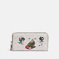 COACH 86099 - ACCORDION ZIP WALLET IN SIGNATURE CANVAS WITH REXY BRASS/IVORY MULTI