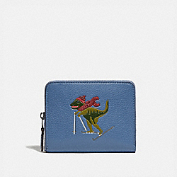 COACH 86103 - SMALL ZIP AROUND WALLET WITH REXY GUNMETAL/STONE BLUE