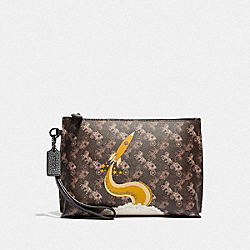 COACH 86105 Charlie Pouch With Horse And Carriage Print And Rocket PEWTER/BROWN BLACK