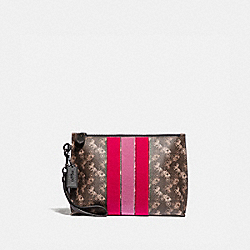 CHARLIE POUCH WITH HORSE AND CARRIAGE PRINT AND VARSITY STRIPE - 86113 - PEWTER/BROWN BLACK