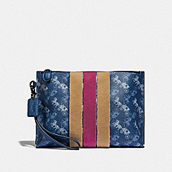 COACH 86113 Charlie Pouch With Horse And Carriage Print And Varsity Stripe PEWTER/TRUE BLUE
