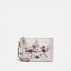 COACH 86116 Charlie Pouch In Signature Canvas With Bonesy BRASS/IVORY MULTI