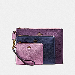 COACH 86400 - TRIPLE POUCH IN COLORBLOCK BRASS/MULTI