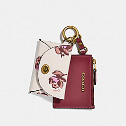 COACH 86407 - DUAL CARD CASE WITH FLORAL PRINT BRASS/CHALK MULTI