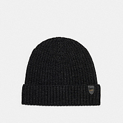 COACH 86553 - RIB KNIT MERINO WOOL HAT CHARCOAL