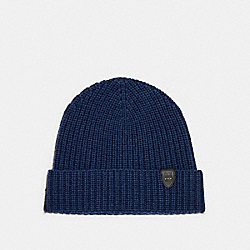 COACH 86553 Rib Knit Merino Wool Hat NAVY