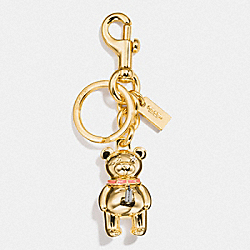 3D BEAR BAG CHARM - 87166 - GOLD.