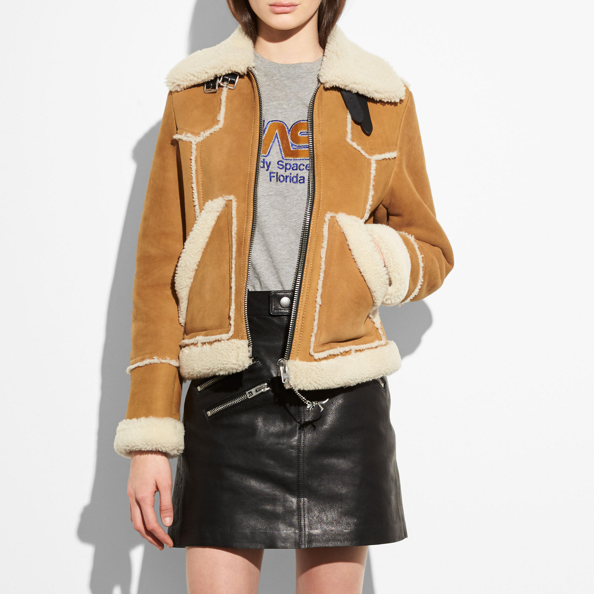 Coach 70's Suede & Shearling Jacket In Toffee