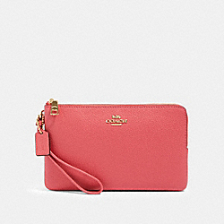 COACH 87587 - DOUBLE ZIP WALLET IM/POPPY
