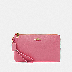 COACH 87587 - DOUBLE ZIP WALLET IM/ROSE