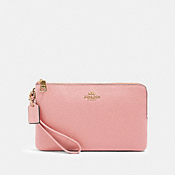 COACH 87587 - DOUBLE ZIP WALLET SV/LIGHT BLUSH