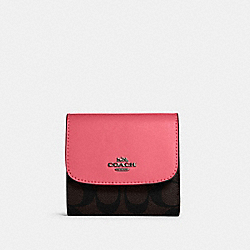 COACH 87589 Small Wallet In Signature Canvas QB/BROWN PINK LEMONADE