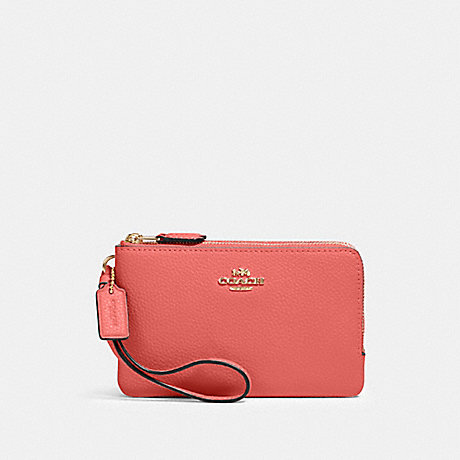 COACH 87590 DOUBLE CORNER ZIP WRISTLET IM/BRIGHT CORAL