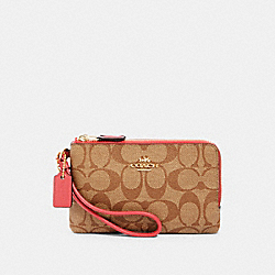 COACH 87591 Double Corner Zip Wristlet In Signature Canvas IM/KHAKI POPPY