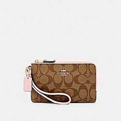 COACH 87591 Double Corner Zip Wristlet In Signature Canvas IM/KHAKI BLOSSOM
