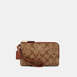COACH 87591 - DOUBLE CORNER ZIP WRISTLET IN SIGNATURE CANVAS IM/KHAKI REDWOOD