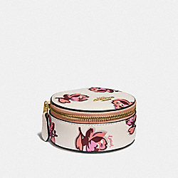 COACH 87655 - ROUND JEWELRY CASE WITH FLORAL PRINT GOLD/CHALK FLORAL PRINT