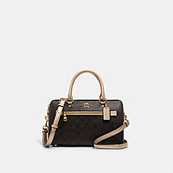 ROWAN SATCHEL IN SIGNATURE CANVAS - 87705 - IM/BROWN/METALLIC PALE GOLD