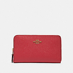 COACH 87735 Medium Zip Around Wallet IM/POPPY