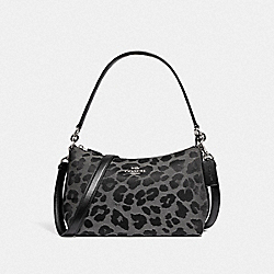 COACH 87756 - LEWIS SHOULDER BAG WITH LEOPARD PRINT SV/GREY