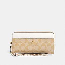 COACH 87886 Accordion Zip Wallet In Signature Canvas IM/LIGHT KHAKI MULTI