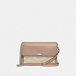 DREAMER CONVERTIBLE CROSSBODY IN COLORBLOCK SIGNATURE CANVAS - 87898 - LIGHT NICKEL/SAND TAUPE