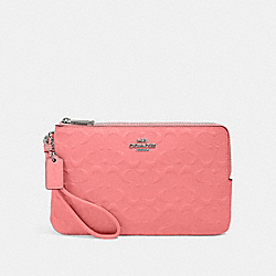 COACH 87934 - DOUBLE ZIP WALLET IN SIGNATURE LEATHER QB/PINK LEMONADE