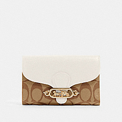 JADE MEDIUM ENVELOPE WALLET IN SIGNATURE CANVAS - 87935 - IM/KHAKI/CHALK