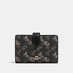 COACH 87936 Medium Corner Zip Wallet With Horse And Carriage Print IM/BLACK GREY MULTI