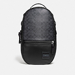 PACER BACKPACK IN SIGNATURE CANVAS WITH COACH PATCH - 87988 - BLACK COPPER/CHARCOAL