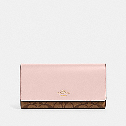 COACH 88024 Trifold Wallet In Signature Canvas IM/KHAKI BLOSSOM