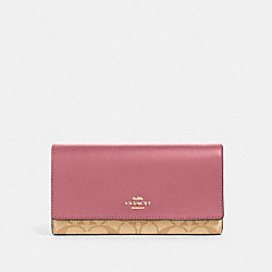 COACH 88024 - TRIFOLD WALLET IN SIGNATURE CANVAS IM/LIGHT KHAKI ROSE