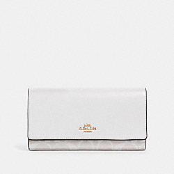 COACH 88024 Trifold Wallet In Signature Canvas IM/CHALK/GLACIERWHITE