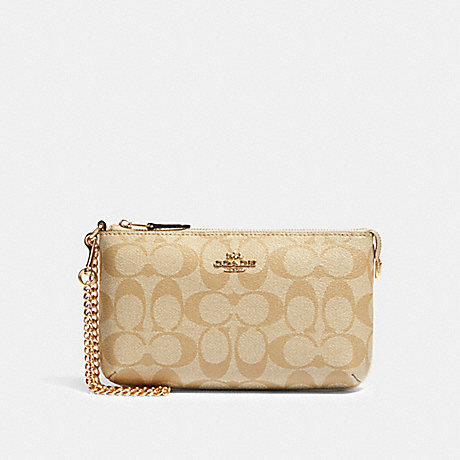 COACH 88035 LARGE WRISTLET IN SIGNATURE CANVAS IM/LIGHT-KHAKI-CHALK