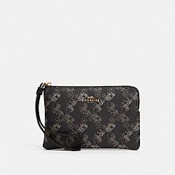 COACH 88083 Corner Zip Wristlet With Horse And Carriage Print IM/BLACK GREY MULTI