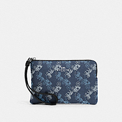 COACH 88083 Corner Zip Wristlet With Horse And Carriage Print SV/INDIGO PALE BLUE MULTI