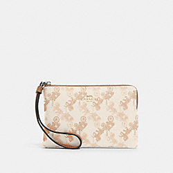 COACH 88083 Corner Zip Wristlet With Horse And Carriage Print SV/CREAM BEIGE MULTI